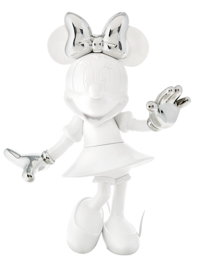 Minnie Welcome Glossy White & Chromed Silver by Leblon Delienne - Limited Edition Sculpture